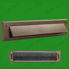 6x Brown PVC Door Letter Box Draught Excluder Brush Seal, 338 x 78 mm, With Flap