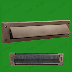 10x Brown PVC Door Letter Box Draught Excluder Brush Seal, 338 x 78 mm With Flap