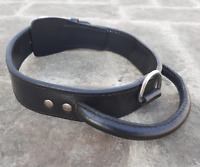 Black Dog Collar With Handle Real Leather Pet Collar For Large Breeds Heavy Duty