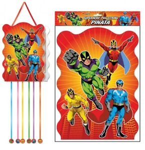 Super Hero Pullstring Pinata - 40cm x 30cm - Loot/Party Game Toy Kids Hang