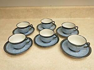 Vintage Demitasse Tea Cups & Saucer Set Of 6 Dekor Keram Silber Bavaria