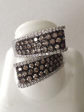 Diamond Ring champagne color pave set 18k white Gold Overlap design 1.50 carat