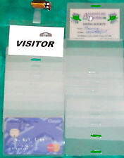 14 ID badge reusable clip holders & ID laminating pouches long / short edge slot