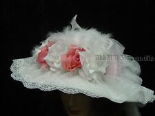 Victorian Vintage style Elsie Massey hat white and light lpink free hatpin