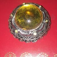 VINTAGE SILVER YELLOW  BROOCH