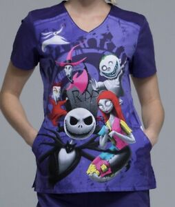 Nightmare Before Christmas Halloween Scrub Top Purple XS S M L XL