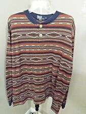 Vintage POLO RALPH LAUREN Rare USA Multicolor Long Sleeve Aztec Henley Shirt XL