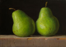 small original daily painting realism still life two pears 7x5, Y Wang fine art
