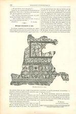 Mosaïque Archéologie de Sens Yonne Bourgogne GRAVURE ANTIQUE OLD PRINT 1890