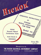 Operators Manual for Hickok 600 Tube Tester