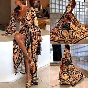 Women Boho Print Long Sleeve V-Neck Maxi Dress Evening Party Summer Kaftan Dress
