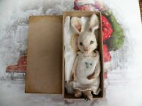 "HOPE One of a Kind 6"" White Miniature Artist Bear Bunny Rabbit by Vivienne Galli"
