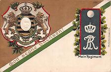 Sachsen RegimentspostkarteDresden Providentiae Memor Wappen geprägt 1908