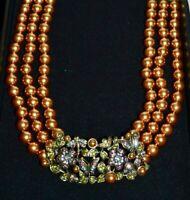 "New HEIDI DAUS ""Secret Garden"" Dragonfly Crystal Necklace Golden Pearls"