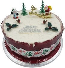 9 piece SET Merry Christmas Cake Decorations yule log cupcake toppers