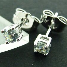 STUD EARRINGS GENUINE REAL 18K WHITE G/F GOLD GENUINE DIAMOND SIMULATED UNISEX