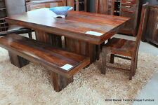 80 L Dining Table Indian Solid Rosewood Gray And Amber Tone Grain Spectacular