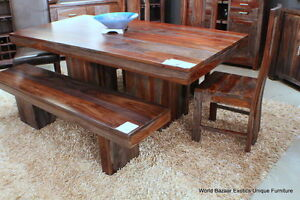 """80"""" L Dining Table Indian Solid Rosewood Gray and Amber Tone Grain spectacular"""