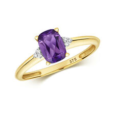 9ct Yellow Gold Cushion Cut Amethyst and Diamond Cocktail Ring, Sizes J - Q (484