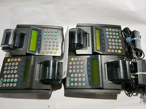 Nurit 2085 Credit Card Terminal 4 Unit Lot. 2 Power Cords. All Power On See Desc
