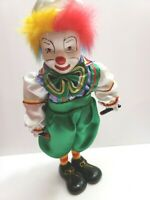 """Musical PORCELAIN CLOWN Doll 13"""" AnimatedWind Up Toy Moving Head Vintage"""