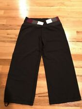 Ladies Lululemon Black Capris Dark Multicolor Waistband Drawstring Bottom Size 6