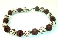 Vintage Seed Bead Necklace Brown White Circle beads Handmade