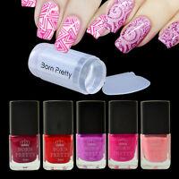 6pcs/set Red Series Nail Stamping Polish Manicure & Clear Stamper Scraper Kit