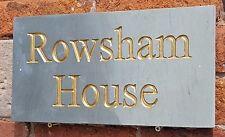Deeply engraved Honed Grey sandstine house sign 400mm x 200mm