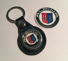 ALPINA (BMW), REAL BLACK LEATHER KEY RING,  FREE PHONE STICKER