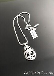 Brighton Contempo silver scroll Teardrop necklace NWT