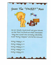 Baby shower games/ Dirty Nappies Game Player Sheets 10 SHEETS BLUE for Baby Boy!