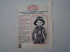 advertising Pubblicità 1965 BAMBOLA JENNI ITALOCREMONA