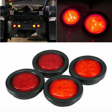 4x 4LED Red Round Truck Trailer Stop Turn Tail Brake Light Side Marker Lamps 12V