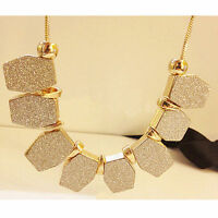 Charm Chain Pendant Crystal Choker Chunky Statement Bib Jewelry Necklace Ladies
