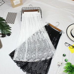 Ladies Midi Sheer Skirt Floral Lace Petticoat Mesh Slips Hollow Out Underskirt