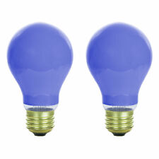 NEW (PACK OF 2) 60W 120V INCANDESCENT A19, E26 BASE CERAMIC BLUE LIGHT BULB