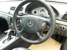 FOR MERCEDES C CLASS W203 REAL BLACK PERFORATED LEATHER STEERING WHEEL COVER