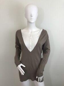 Rag And Bone Natasha Cashmere Womens Sz XS Brown Ivory NWT Sweater Shirt Long