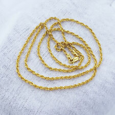 "22K Genuine Gold Chain Rope Necklace 20"" Hallmarked 916 LIGHT WEIGHT 1.76mm Thin"
