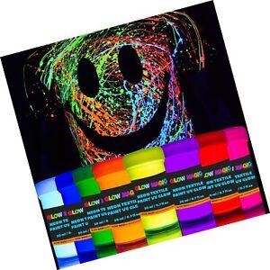 individuall Glow Magic Fabric UV Paint Set - Set of 8 – Neon Textile Black Li...