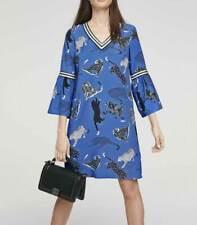 Kleid HEINE Druck Kleid blau bunt mit Volants kurz Gr 40 42 44