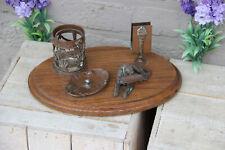 Rare antique bronze art deco smoking set dog ashtray on wood base