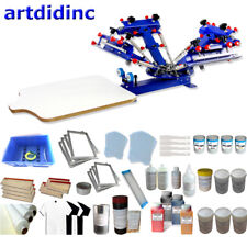 4 Color 1 Station Screen Printing Kit with Hobby Materials shirt Press squeegee