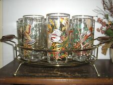 Vintage 1960's Game Bird Tumbler 8 Glasses & Ice Bucket & Caddy Gold Rim MINT