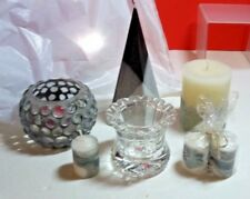 Assorted Lot Of Silver Black White Candles And Holders