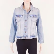 New Look Womens Size 12 Blue Denim Crop Short Jacket