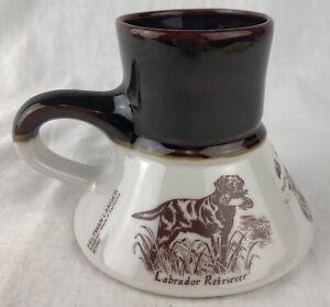 Vintage Feltman Langer No Spill Coffee Mug Porcelain Hunting Dogs Lab Retriever