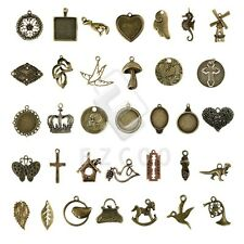 2-100pcs Antique Brass Spacer Metal Charm Pendant Jewelry Findings 35 style CA