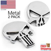 2x Silver Motorcycle Emblem Punisher Skull Sticker